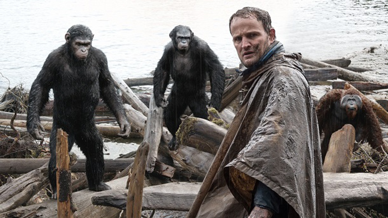 Caesar, Koba, Malcom, and Maurice.  Notice the water effects on the apes' fur.